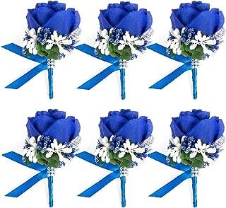 JaosWish 4/6/8PCS Flower Men Boutonniere Handmade Silk Men Corsage for Groom Wedding Party Suits (Royal Blue)