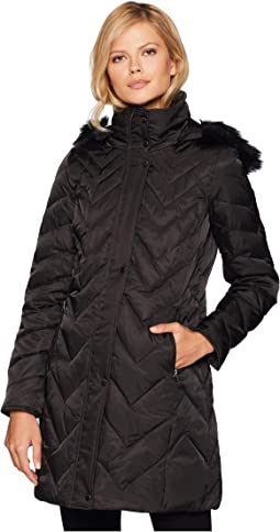 "Roxbury Matte Satin Down Fill Puffer 38"" Faux Fur Trim Hood"