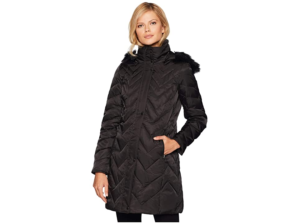 Marc New York by Andrew Marc Roxbury Matte Satin Down Fill Puffer 38 Faux Fur Trim Hood (Black) Women