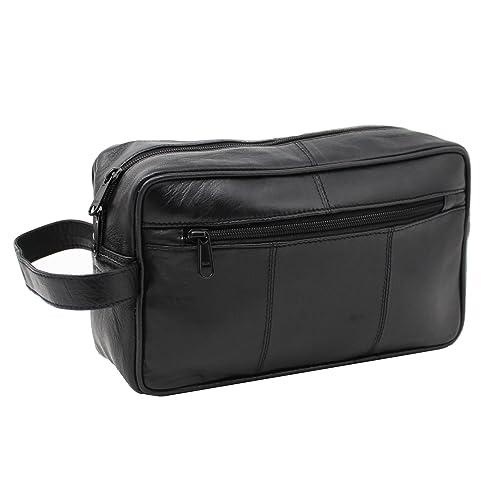 RAS WALLETS Mens Genuine Leather Travel Overnight Wash Gym Toiletry Shaving Bag 3510 Black
