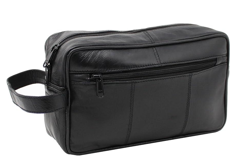 RAS WALLETS Men's Genuine Leather Travel Wash Gym Toiletry Bag Length 25cm x Height 16cm x Depth 14.5cm (Approx.) Black