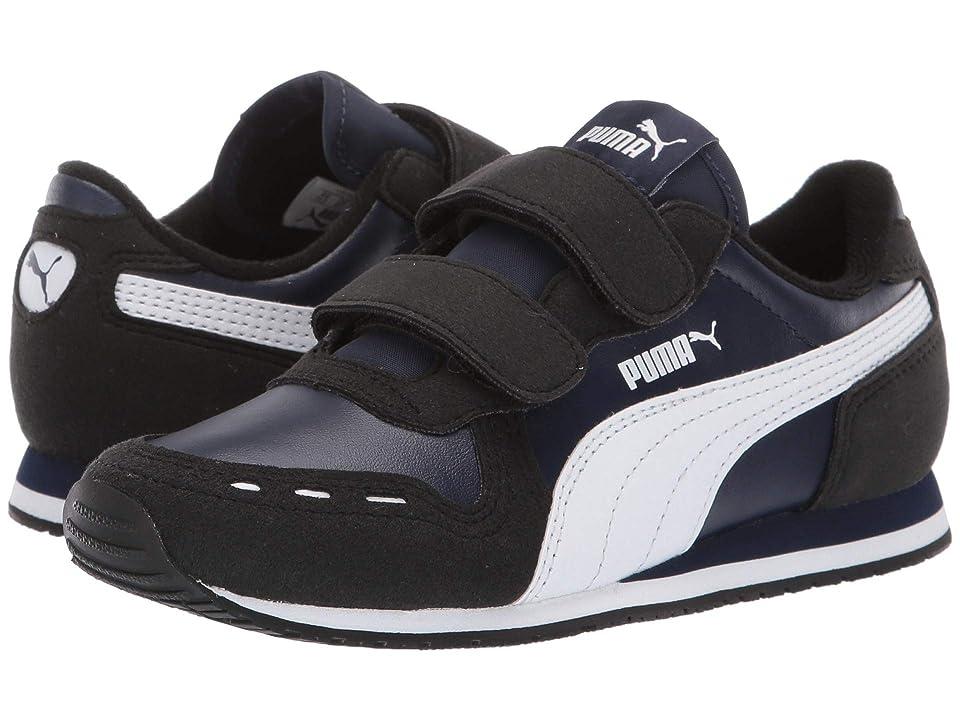 Puma Kids Cabana Racer SL Velcro (Little Kid) (Peacoat/Puma Black/Puma White) Boys Shoes