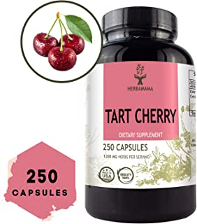 Tart Cherry Extract 250 Capsules 1200 mg per Serving | Uric Acid Cleanse | Antioxidant | Promotes Joint Health | Anti-Inflammatory