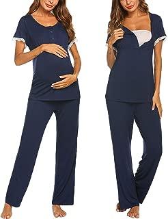 Women's Maternity Nursing Pajamas Set Soft Short-Sleeved Button Tops PJ Pants Sleepwear Set