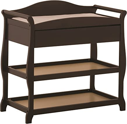 featured product Storkcraft Aspen Changing Table with Drawer,  Espresso,  Sleigh Design Changing Table with Changing Pad and Safety Strap,  Oversized Drawer and Two Storage Shelves