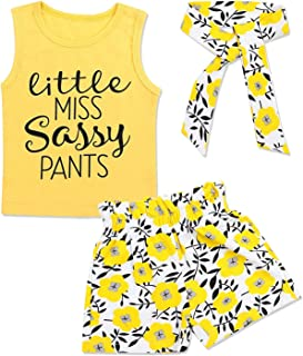 KANGKANG Newborn Baby Girls Clothes Floral Sleeve Romper+ Floral Short Pant 2pcs Summer Outfit (Yellow 3, 2-3 T)