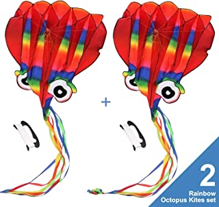 2PCS Large Rainbow Octopus outdoor kite for kids and Adults ,Large Easy Flyer Kite-software octopus,48 Inches Wide with Long Tail 217 Inches Long-Perfect for Beach or Park with Handle & String
