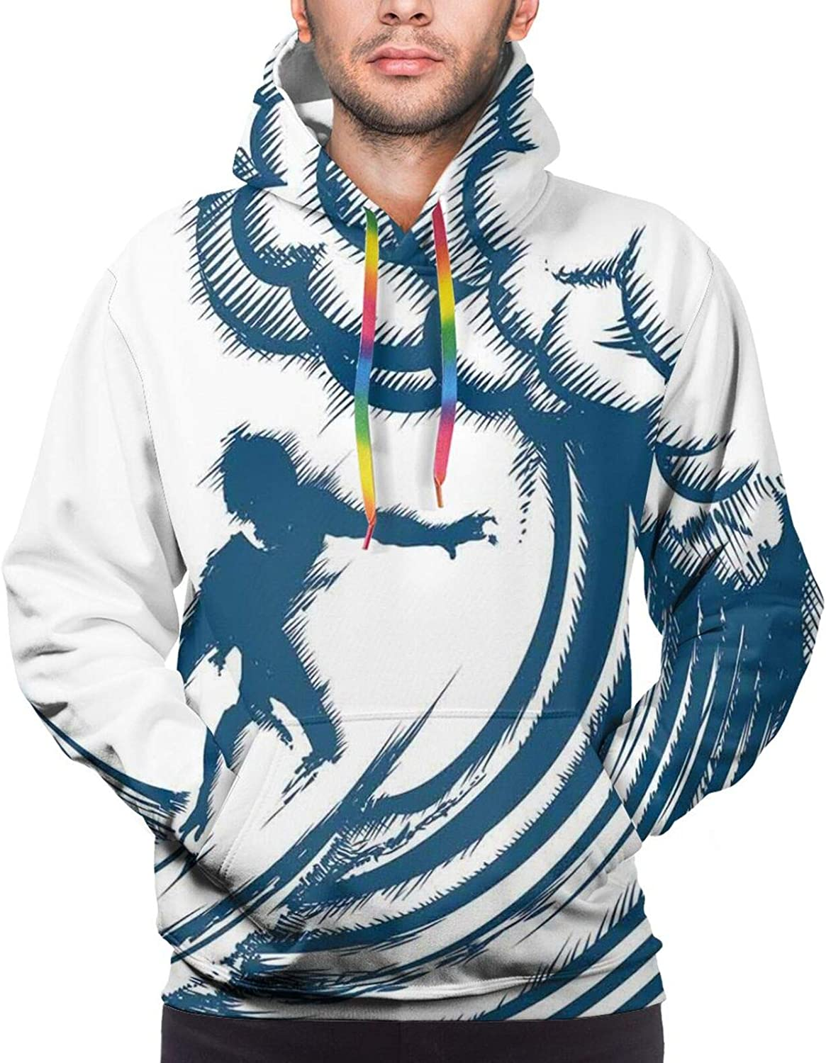 Men's Hoodies Sweatshirts,Abstract Silhouette of A Girl with Pink Wings and A Floral Dress Spring Fairy