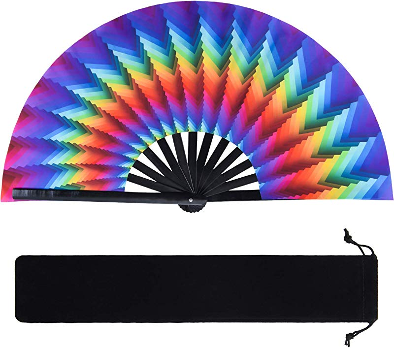 Large Bamboo Rave Folding Hand Fan Chinese Japanese Handheld Fan With Fabric Case Kung Fu Tai Chi Folding Fan For Women Men Performance Home Decorations Gifts Supplies Colorful Trippy