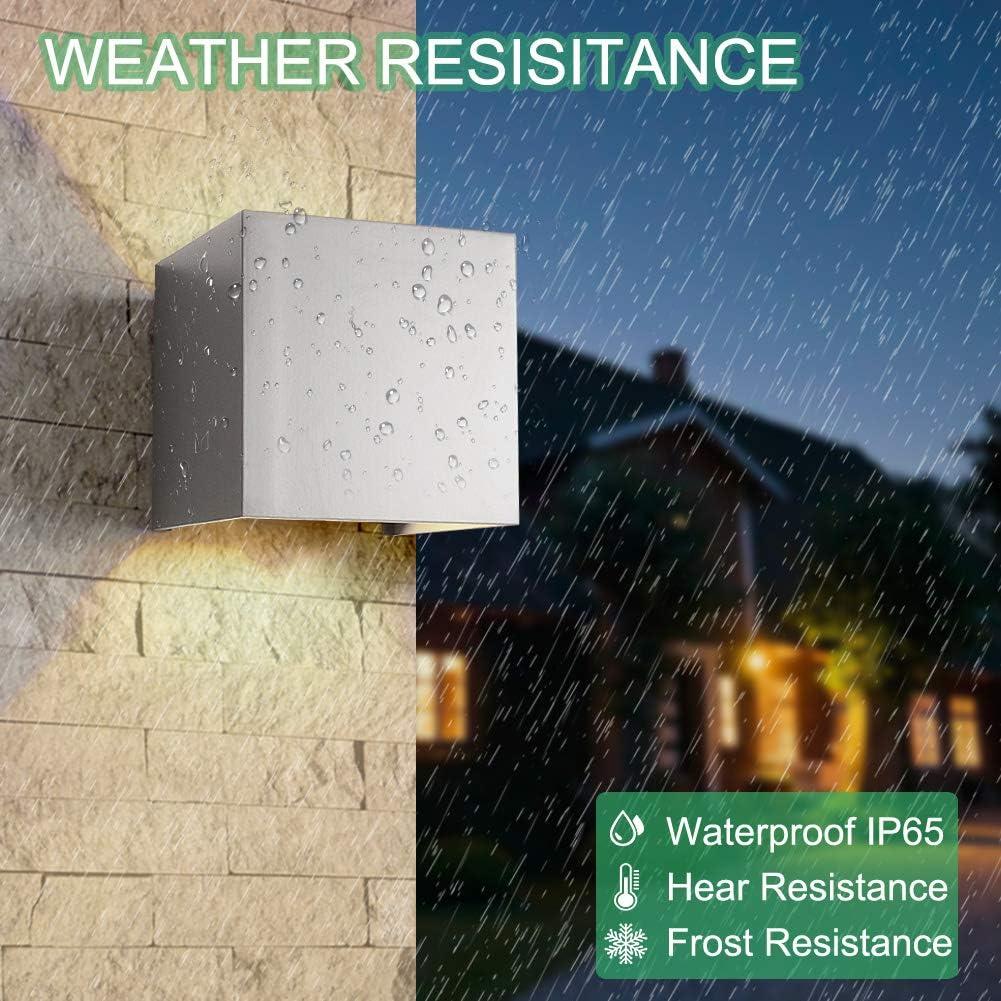 2-Pack 7W LED Wandleuchte Aussen Wandlampe Außenwandleuchte Wasserdicht Mit Einstellbar Abstrahlwinkel IP65 LED Wandbeleuchtung Innen & Außen Warmweiß -Schwarz 7w Grau Warmweiß