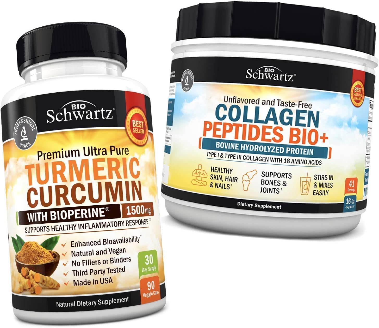 Same day shipping Turmeric Curcumin with BioPerine 1500mg + Collagen OFFicial store Peptides Prot
