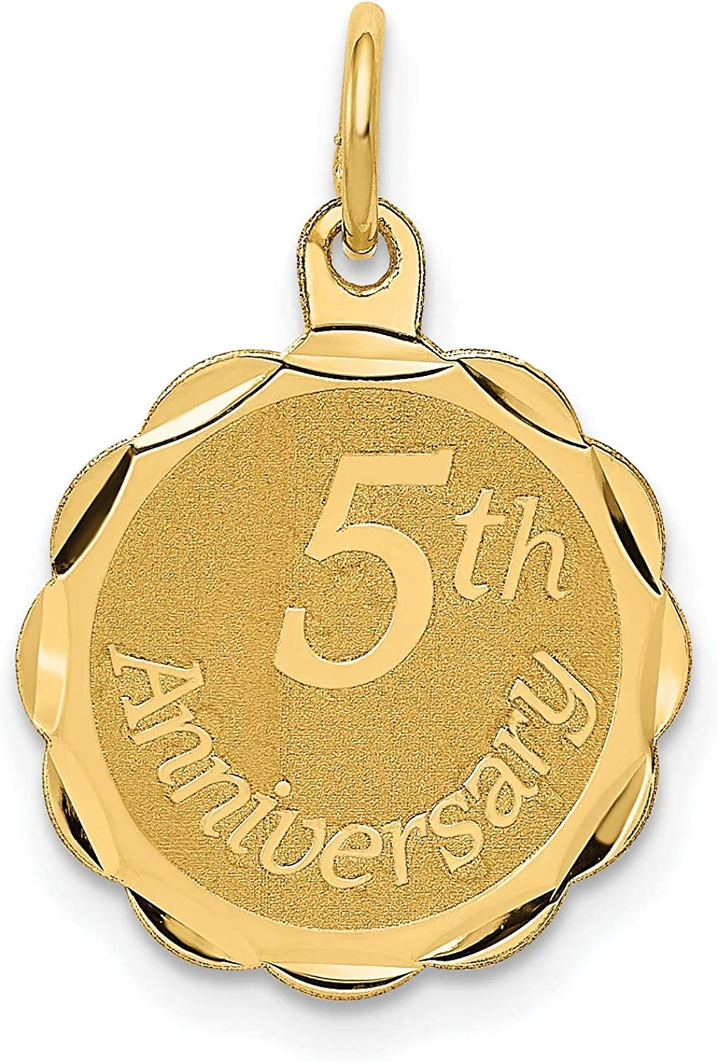 14k Yellow Gold Happy 5th Anniversary Charm 1 year warranty excellence mm 23 16 x