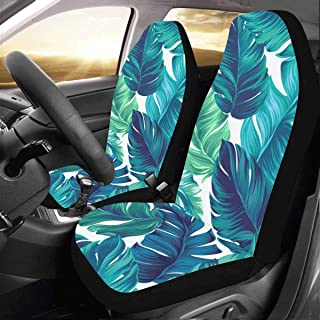 Green Retro Banana Palm Leaves Custom New Universal Fit Auto Drive Car Seat Covers Protector for Women Automobile Jeep Truck SUV Vehicle Full Set Accessories for Adult Baby (Set of 2 Front)