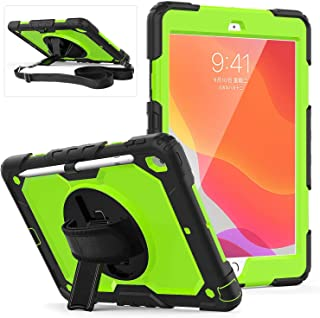 AMERTEER iPad 10.2 Case, 2019 iPad 8th/ 7th Generation Case with Screen Protector Pencil Holder, 360° Rotatable Kickstand ...