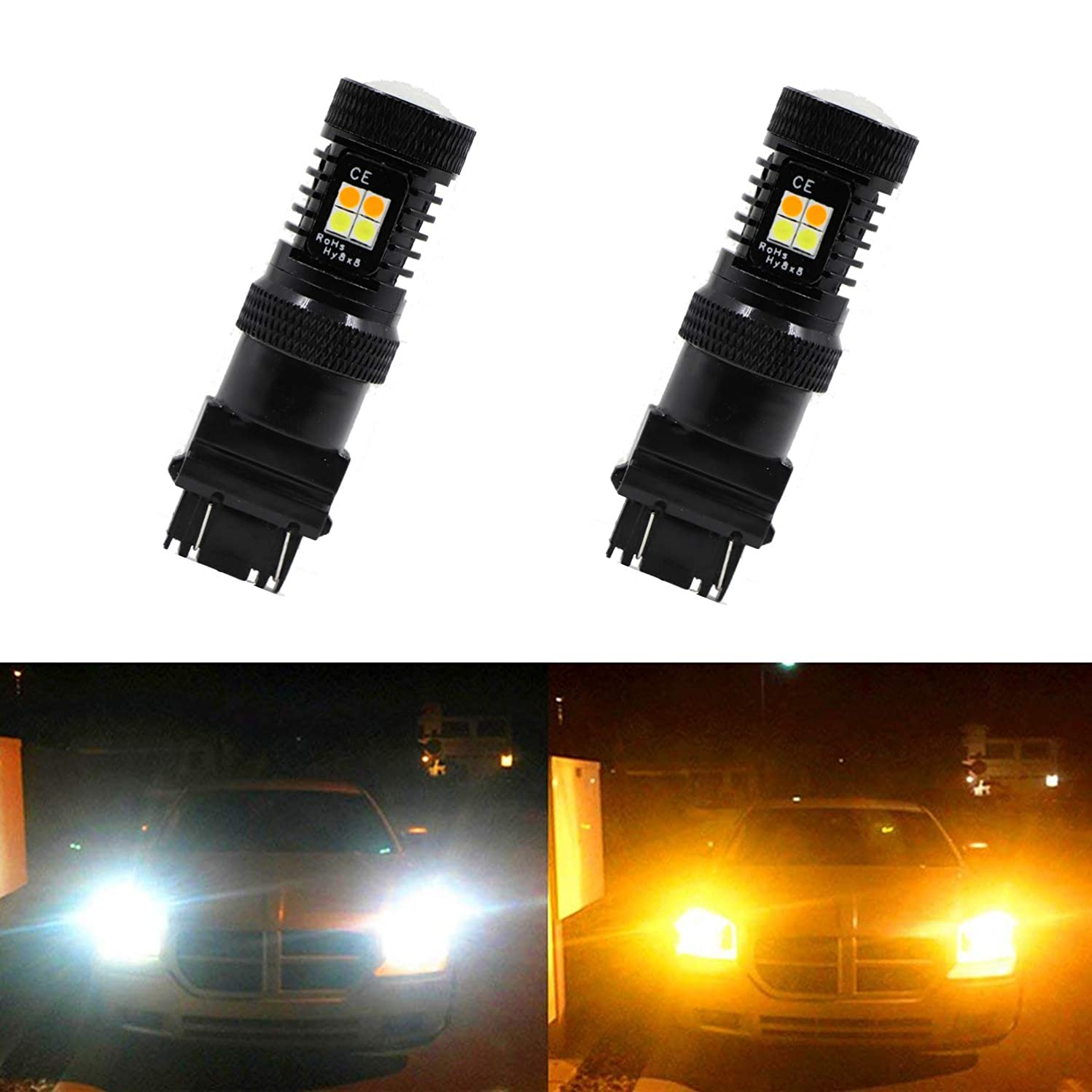 Extremely Bright 3030 Chipsets White and Amber Dual Color Switchback 3157 3157A 3057 3155 3157NA 3357 3457 3457A 4057 4114 4157 LED Bulbs with Projector for Car Turn Signal Lights