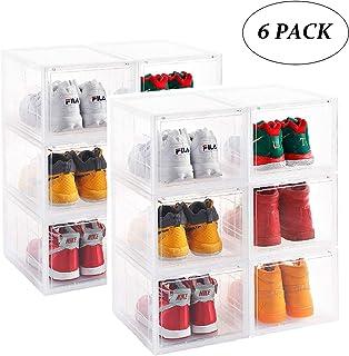Storage Shoes Box Womens Mens Shoe Storage Box Plastic Foldable Stackable Shoe Container Clear Closet Shelf Shoe Organizer-Six Pack