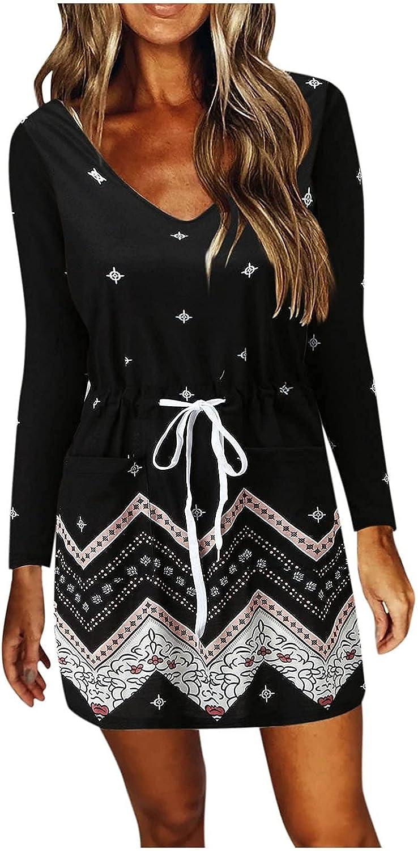 Wuztai Womens Summer Dresses Fashion V Neck Long Sleeve Drawstring Mini Dress with Pockets,Elegant Casual Loose Short Dress