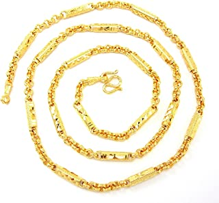 Thai Classic Mix Link Baht Jewelry 24k Yellow Gold Plated 24.5