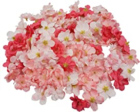 Colorfulife Cherry Blossom Flower Heads, 100pcs Artificial Silk Sakura Flower Head Petals Bridal Wedding Party Supply Table Floor DIY Decoration Centerpieces Home Decorative (Peach Pink)
