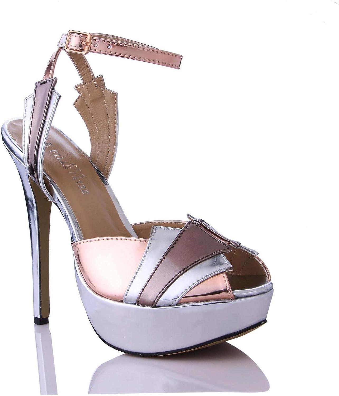 KUKIE Best 4U Frauen Sommer Sandalen Schuhe Spiegel PU Peep Toe 14 cm High Heels 3 cm Plattformen Gummisohle Eine Schnalle Pumps Schuhe