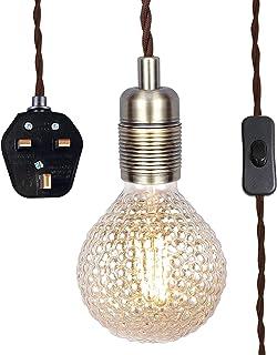 SHINY STAR Antik mässing pendellampa med plug-in, hängande lampa i vintagestil kit E27 lamputtag, 4 500 mm flätad kabel me...