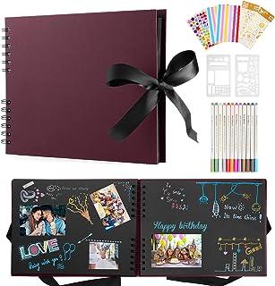 Album Photo Scrapbooking, Albums Photos Personnalisable, 80 Pages Scrapbooking Livre Kit Avec 12 Stylos Métalliques, Album...