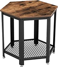 VASAGLE Industrial Side Table, Hexagonal Nightstand with Storage Rack, for Living Room, Bedroom, Wood Look Accent Furniture with Metal Frame