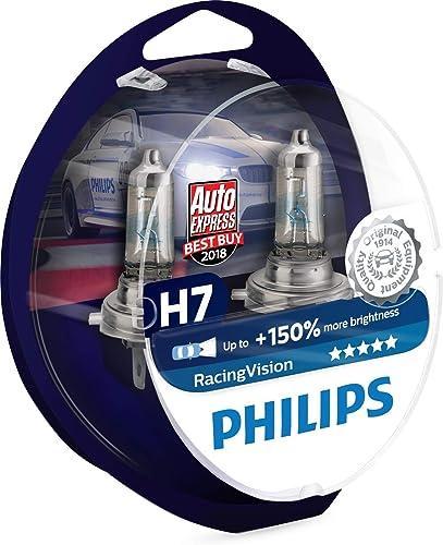 Philips RacingVision +150% H7 headlight bulb 12972RVS2, twin pack - chrome