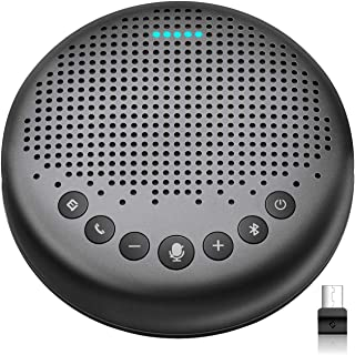 Bluetooth Speakerphone – eMeet Luna Updated AI Noise Reduction Algorithm Featured, Daisy Chain, USB Conference Speaker Phone w/Dongle for Home Office, 360° Voice Pickup for up to 8 People