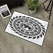 Printed Door mat W31 x L47 INCH Elephant Mandala,Seven Royal Symbols and a Guardian of Temples Spirit Animal Circle,Black and White Non-Slip Door Mat Carpet