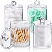 AOZITA 4 Pack Qtip Holder Dispenser for Cotton Ball, Cotton Swab, Cotton Rounds, Floss - 10 oz Plastic Apothecary Jars for...