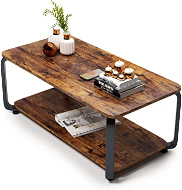Embrace life ローテーブル 収納付きしセンターテーブル コーヒーテーブル リビング テーブル R角保護 副80cm 虎皮色