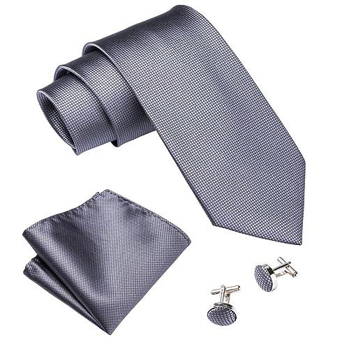f4ecbbc55651 Wang Men Ties Solid Handkerchief Cufflinks Necktie Set Wedding Business