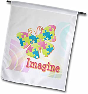 3dRose fl_102515_1 Imagine Autism Awareness Puzzle Pieces Butterfly Design Garden Flag, 12 by 18-Inch