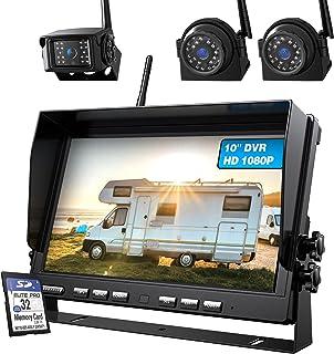 $409 » ZEROXCLUB 10'' 1080P Wireless Backup Camera System Kit, 10 Inch DVR Quad Split Monitor Wireless Rear Side View Camera, IP6...
