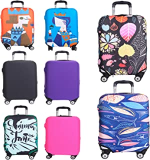 Reliancer Travel Luggage Cover Spandex Suitcase Protector Fits 18-32 Inch Luggage Washable Elastic Suitcase Bag Cover Stretchy Dustproof Travel Baggage Protector Cover 3D Pattern(Fallen Leaves, XL)