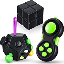 3 Pieces Handheld Mini Fidget Toy Set Anxiety and Stress Relief Fidget Toy 12 Side Fidget Toy Cube Cam Fidget Controller P...