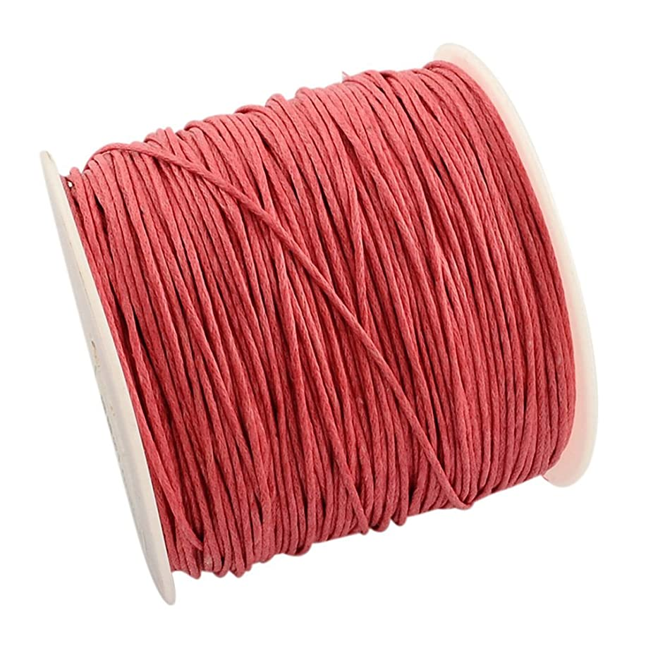 NBEADS 100yards/roll 1mm Wide Waxed Cotton Beading Cords Thread for Jewelry Making Crafting Light Coral