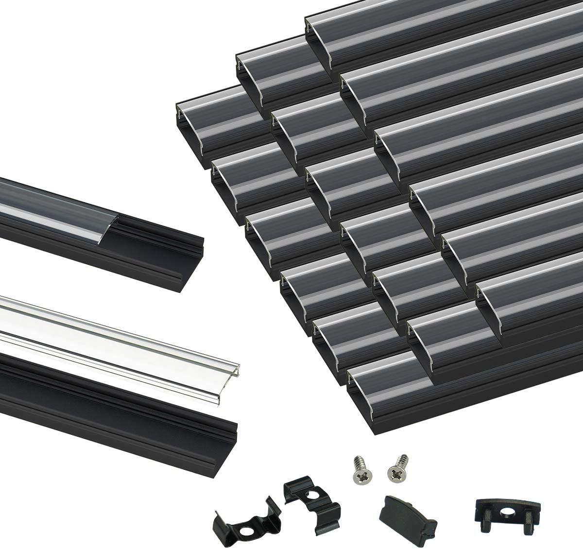 Muzata Courier Indefinitely shipping free 20Pack 3.3ft 1M Black LED Crystal Tra System Channel with