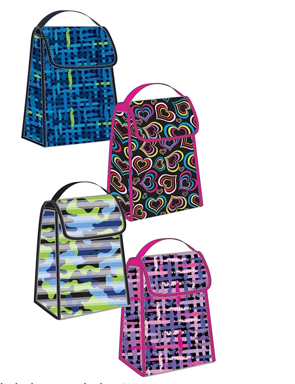 Small 12 inch Foldable Printed Insulated Lunch Bag with Handle and Main Pocket Pvc-free! (Multi-colored heart design)