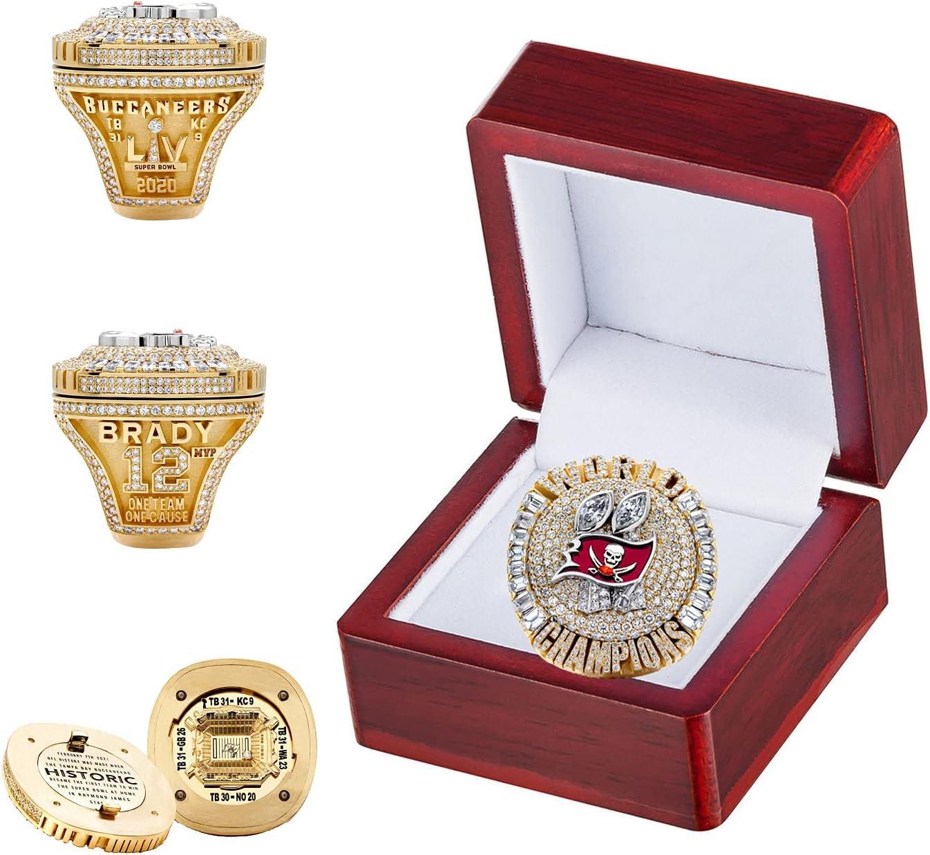 2020 Tampa Bay Super'Bowl Championship Ring con caja de madera 'Buccaneers Champions Ring' Tom 12 Brady'Goat Serie réplicas desmontables Regalos para hombres mujeres niños padre