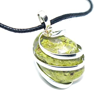 Unakite Jasper Gemstone Pendant Necklace - Natural Crystal Healing   Stone for Living in The Here & Now  Heart and Third Eye Chakras   Aligns Heart and Mind for Life Harmony  Jewelry for Men & Women