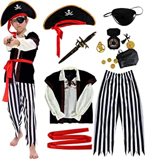 ANNTOY Pirate Costume Kids Deluxe Costume Pirate Sword Compass Earring Purse Coins Medallion Pirate Accessories for Hallow...