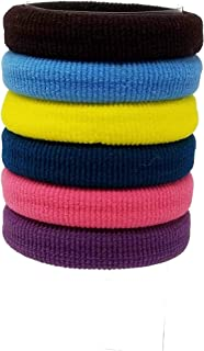 Evogirl Rubberband Elastic Rubber Band Metal Free Soft Fabric Thick Hair Ties Dark Shades, Large, For Women/Girls