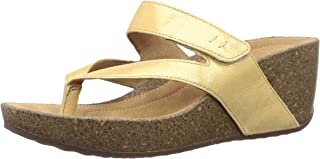 Clarks Women's Temira Palm Gold Leather Fashion Sandals