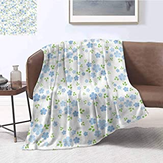 Zmcongz Microfiber All Season Blanket Flower Small Wild Flowers Blue Print Summer Quilt Comforter W60 xL91 Traveling,Hiking,Camping,Full Queen,TV,Cabin