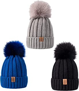 REDESS Kids Winter Warm Fleece Lined Hat, Baby Toddler Children's Beanie Pom Pom Knit Cap for Girls and Boys