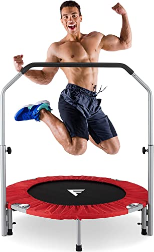 """FiveJoy 40"""" Foldable Mini Trampoline for Kids and Adults, Fitness Rebounder with Adjustable Foam Handle, Exercise Trampo-line Indoor/Garden Workout Max Load 330 l bs with Two Security pins"""