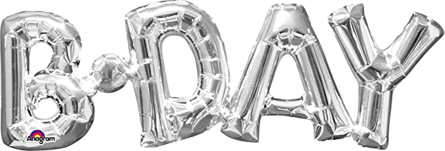 """amscan Party Decorations, Balloon Air-Filled Phrase B-Day, Party Supplies, Silver, 26"""" x 9"""""""