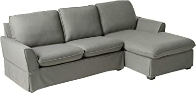 HOMES: Inside + Out IDF-6379GY-SEC Lona Sectional, Gray